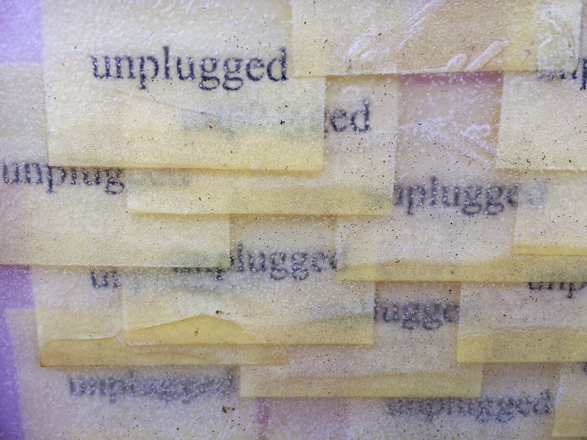 Post-it Art   Unplugged (detail) - 1998    Printed post-it notes in wax